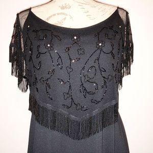 Stenay Back dress w/ beaded top and beaded sleeves